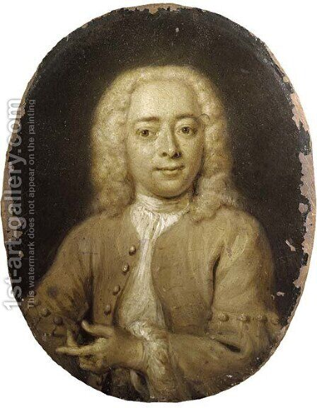 Portrait of Philips Zweerts (1704-1774), small half-length by Cornelis Troost - Reproduction Oil Painting