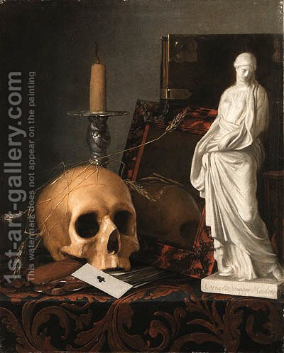 A Vanitas Still Life of a Skull by Cornelis Van Der Meulen - Reproduction Oil Painting