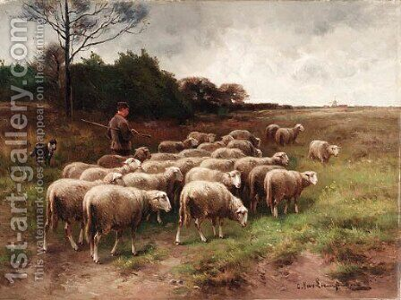 Out to pasture by Cornelis van Leemputten - Reproduction Oil Painting