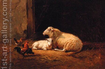 Sheep and Cockerels in a Farmyard by Cornelis van Leemputten - Reproduction Oil Painting