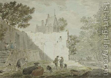 Peasants with cattle among ruins, a road to the right by Cornelius van Noorde - Reproduction Oil Painting