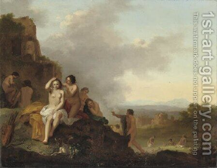 Nymphs resting and bathing in an Italianate landscape by Cornelis Van Poelenburch - Reproduction Oil Painting