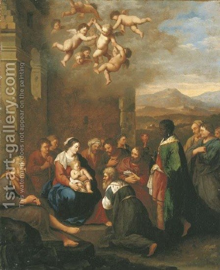 The Adoration of the Magi by Cornelis Van Poelenburgh - Reproduction Oil Painting