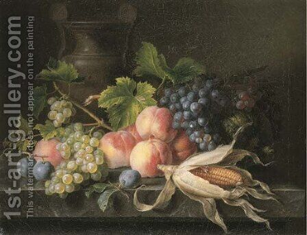 Peaches, grapes on the vine, plums, a melon and corn on the cob on a marble ledge with an urn by Cornelis van Spaendonck - Reproduction Oil Painting