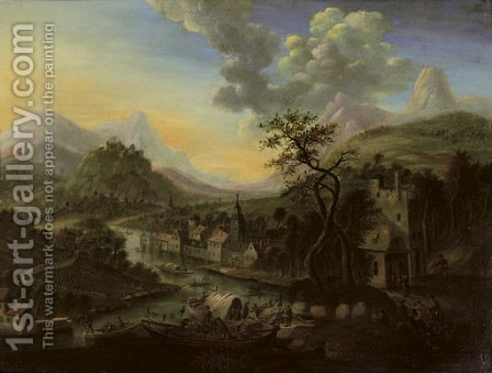 A Rhenish river landscape with a ferry and other boats, a town beyond by Cornelis Verdonck - Reproduction Oil Painting