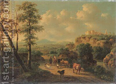 Peasants and cattle in an Italianate landscape by Cornelis Van Der Meulen - Reproduction Oil Painting