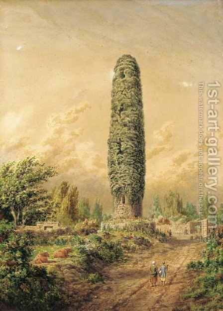 An ivy-covered tower by an open track, Ireland by Cornelius Varley - Reproduction Oil Painting