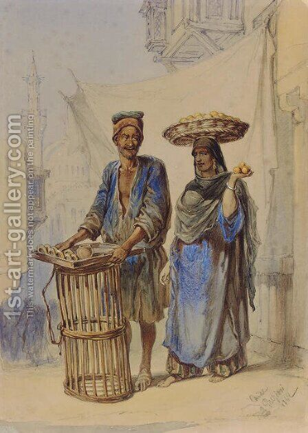 The Orange Seller, Cairo by Amadeo Preziosi - Reproduction Oil Painting