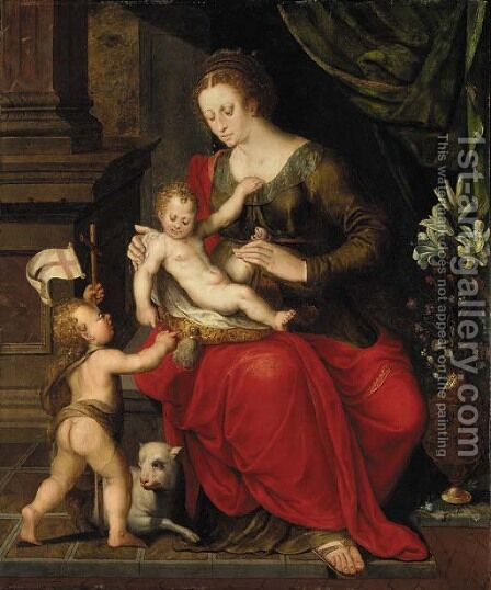 The Virgin and Child with the Infant Saint John the Baptist by Crispin Van Den Broeck - Reproduction Oil Painting