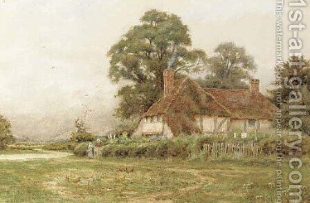 Rural cottage with chickens feeding by Curtius Duassut - Reproduction Oil Painting