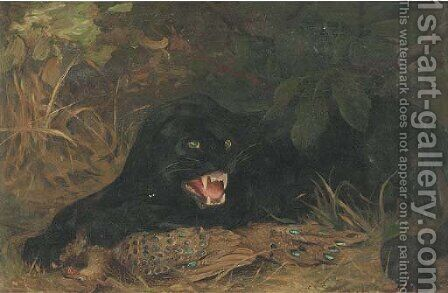 A panther guarding his kill by Cuthbert Edmund Swan - Reproduction Oil Painting