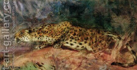 Stalking Leopard by Cuthbert Edmund Swan - Reproduction Oil Painting