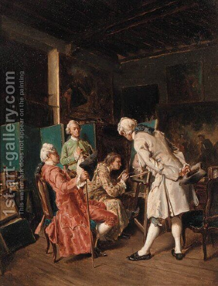 The Connoisseurs by Dajou - Reproduction Oil Painting