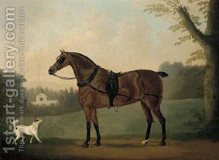 A liver chestnut carriage horse and a terrier in a park, a stable beyond by Daniel Clowes - Reproduction Oil Painting