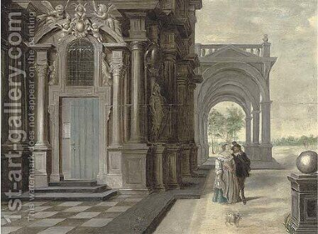 A courting couple outside a building, an arcade and a garden beyond by Daniel de Blieck - Reproduction Oil Painting