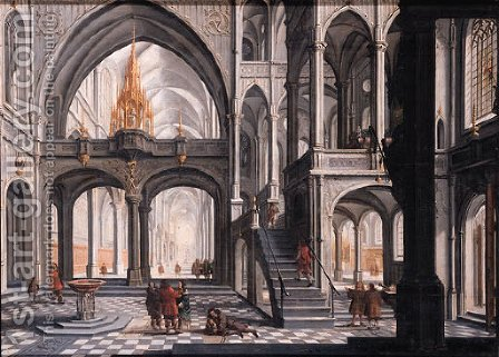 Worshippers in a Gothic church by Daniel de Blieck - Reproduction Oil Painting