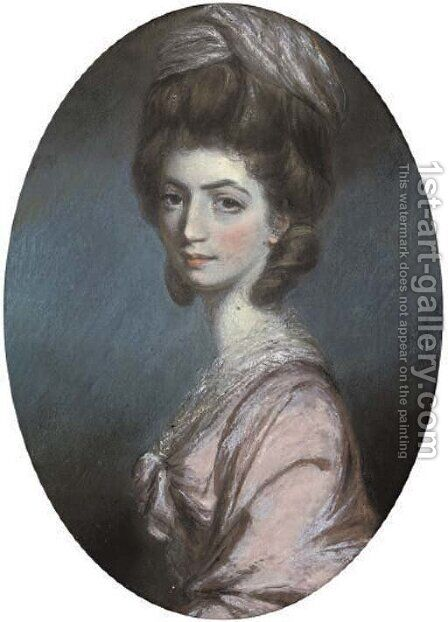 Portrait of a lady, bust-length, in a pink dress and headdress by Daniel Gardner - Reproduction Oil Painting