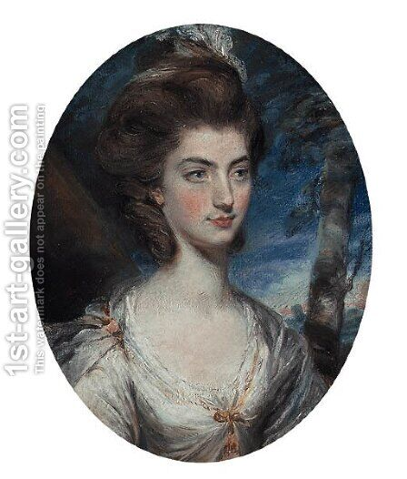Portrait of Lady Charlotte Hill, Countess Talbot, bust-length, in a white dress with gold trim, in a landscape by Daniel Gardner - Reproduction Oil Painting