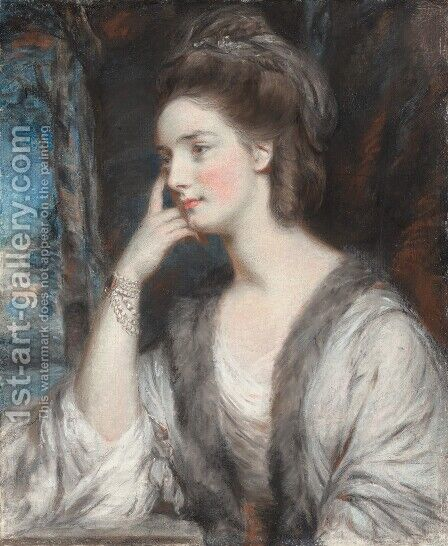 Portrait of Lady Watkin Williams-Wynn, half-length, looking to the left, in a white dress and a fur-trimmed stole by Daniel Gardner - Reproduction Oil Painting