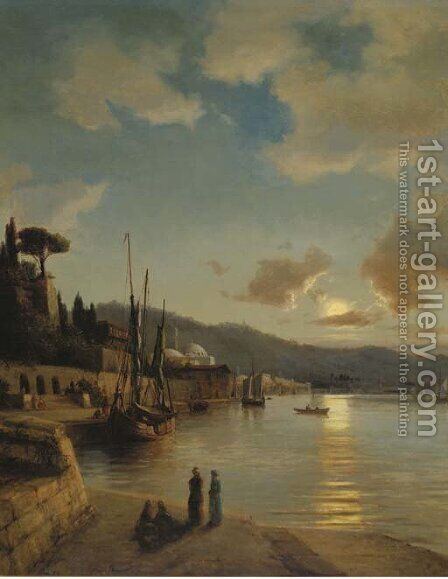 An oriental harbour by moonlight by Anton Melbye - Reproduction Oil Painting