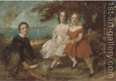 A group portrait of three children, small full-length, seated in a landscape, a sketch by Daniel Maclise - Reproduction Oil Painting