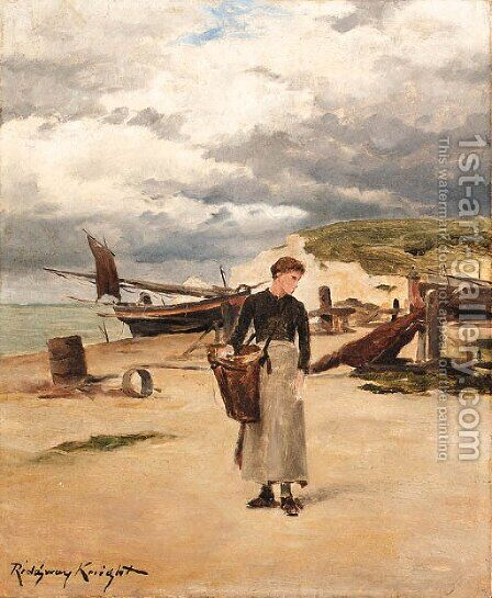 At Etretat by Daniel Ridgway Knight - Reproduction Oil Painting