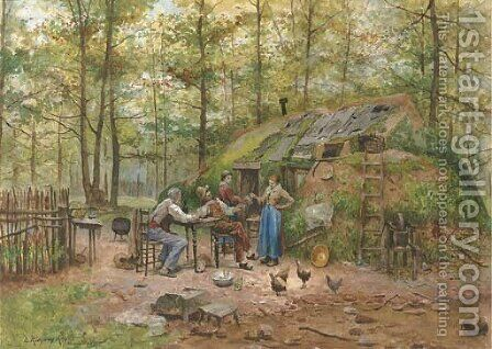 Preparing the Meal by Daniel Ridgway Knight - Reproduction Oil Painting