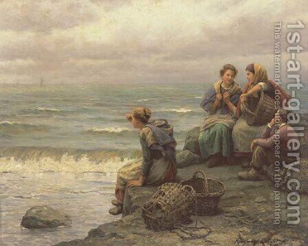 Awaiting the Return of the Fishing Fleet by Daniel Ridgway Knight - Reproduction Oil Painting