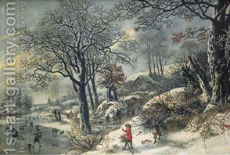 A frozen river landscape with huntsmen and skaters by Daniel van Heil - Reproduction Oil Painting