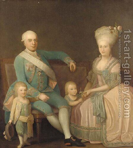 Portrait of a family group by Danish School - Reproduction Oil Painting
