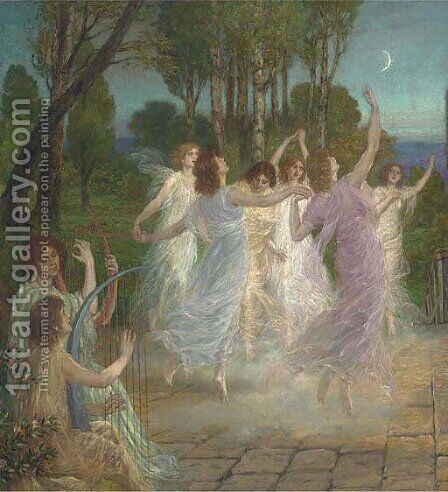La balla di luna by Danish School - Reproduction Oil Painting