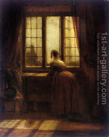 At the window by Danish School - Reproduction Oil Painting