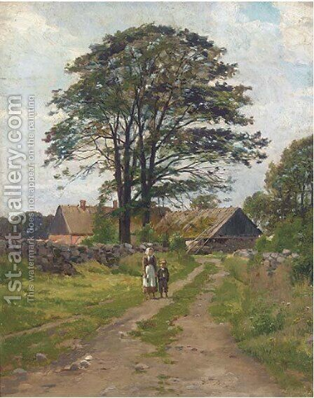 Figures on a beaten track, with a farmhouse beyond by Danish School - Reproduction Oil Painting