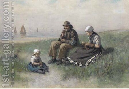 A fisherman and his family by David Adolf Constant Artz - Reproduction Oil Painting