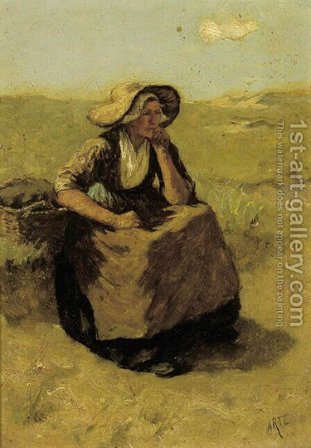 A pensive fisherwoman in the dunes by David Adolf Constant Artz - Reproduction Oil Painting