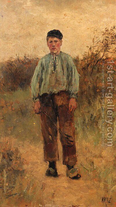 Portrait of a young cowherd by David Adolf Constant Artz - Reproduction Oil Painting