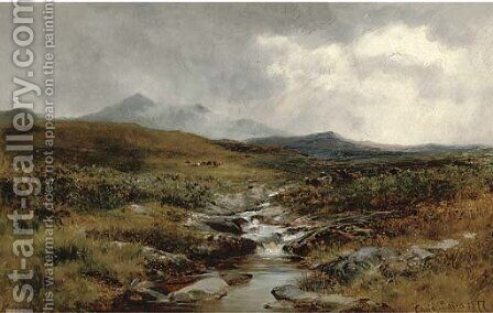 A Welsh moorland stream by David Bates - Reproduction Oil Painting