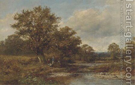 By the brook, Mathon by David Bates - Reproduction Oil Painting