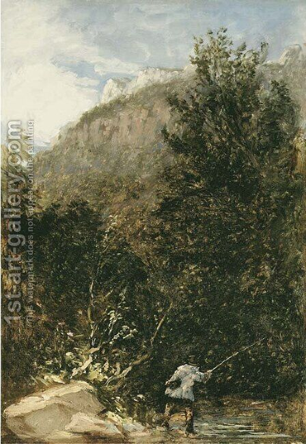 An angler on the river Llugwy, Bettws-y-Coed by David Cox - Reproduction Oil Painting