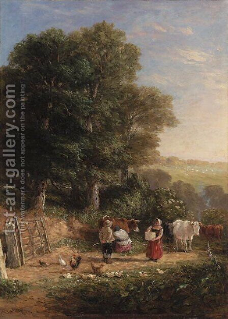 Milking time by David Cox - Reproduction Oil Painting