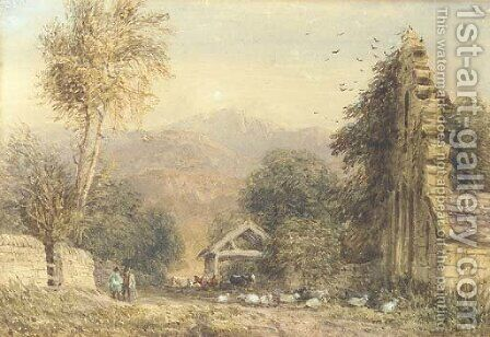 Cader Idris from Kymmer Valley, North Wales by David Cox - Reproduction Oil Painting