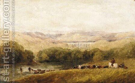 Watering the herd, North Wales by David Cox - Reproduction Oil Painting
