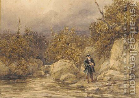 A fisherman at the edge of a river, North Wales by David Cox - Reproduction Oil Painting