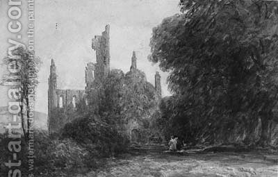 Kirkstall Abbey, Near Leeds by David Cox - Reproduction Oil Painting