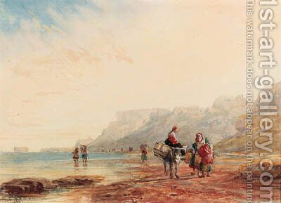 The beach near Calais, Fort Rouge in the distance, France by David Cox - Reproduction Oil Painting