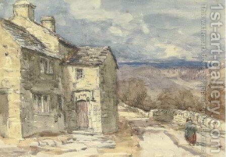 A figure on a lane by David Cox - Reproduction Oil Painting
