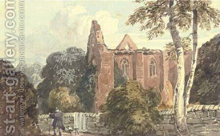 A figure with a dog beside a ruined abbey by David Cox - Reproduction Oil Painting