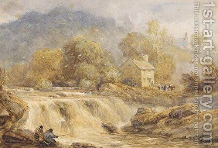 Anglers by a waterfall, Wales by David Cox - Reproduction Oil Painting