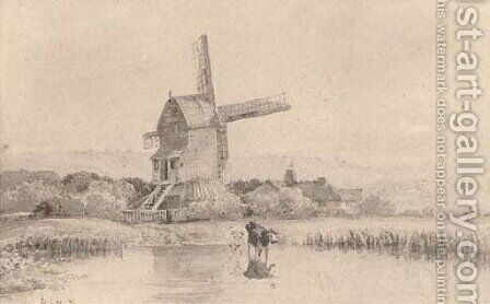 Cattle watering by a windmill on Dulwich Common by David Cox - Reproduction Oil Painting