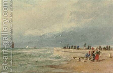 Dieppe Pier, France by David Cox - Reproduction Oil Painting